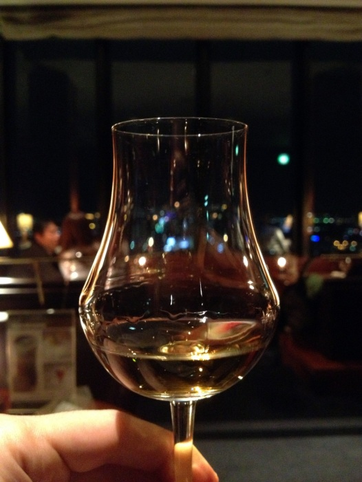 Yamazaki single malt 12 years old with Kyoto night background